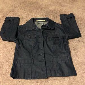 Ann Taylor Denim cropped blazer size 4